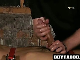 Blindfolded and tied up stud getting jerked off