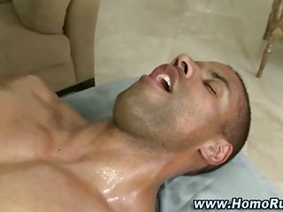 Straighty hunk gets sucked by horny bear masseuse