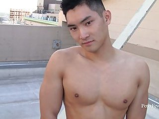 Asian chinese handsome boy jerking off