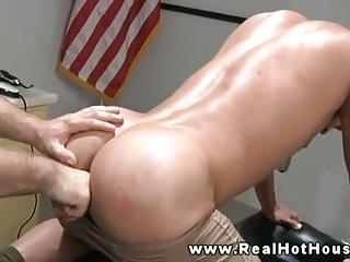 Steamy hunk prepares lovers ass