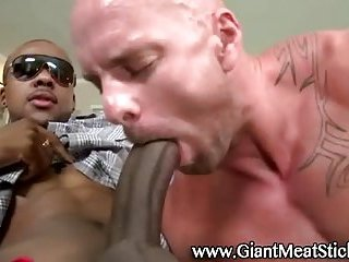 Gay hunk sucks ebony big cock