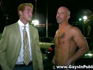 Public gay blowjob in parking