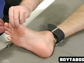 Tied up hunk getting his feet licked and body tickled