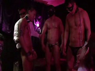 Asian muscular group sex party