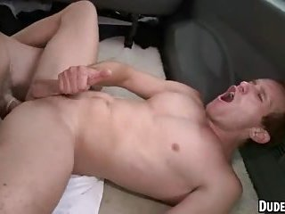 This sexy stud is getting his ass fucked for the first time