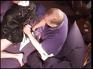 Bondage handjob for horny dude