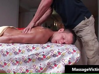 Nasty guy hunk gets oiled massage