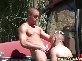 Naughty outdoor blowjobs for french hunks