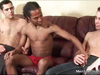 Interracial trio whacking off