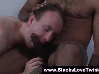 Cute twink sucking black cock