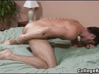 College hunk Adam Marx stuffing his anus with dildo