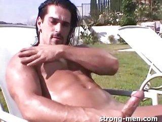 Hot Handsome Latin Guy Outdoor Jerking