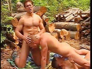 Gay guys threeway outdoor fucking