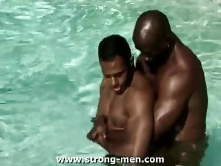 Horny Ebony Trio Making Out In A Pool