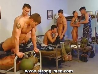 Horny Guys In Uniform Group Sex