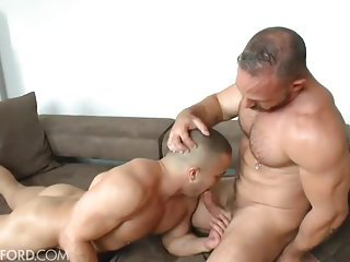 Beefy gay guys in tats banging