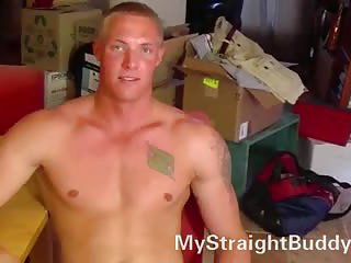 Beefy guy stripping for wanking