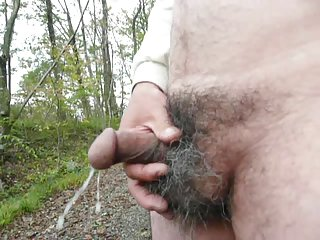 Japanese old man masturbation outdoor semen