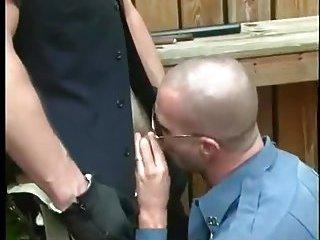Lustful Policemen Sucking Outdoor