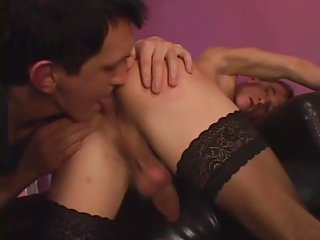 Guy In Stockings Gets Ass Plugged