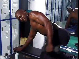 black bodybuilder with pierced nipples wanking