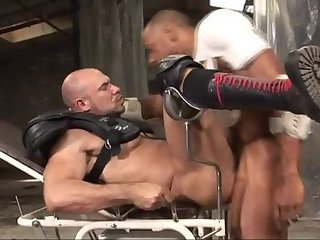 Two body builders have sex