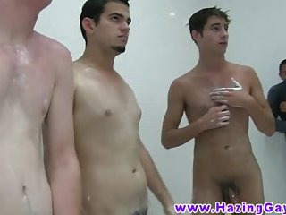 Teen twinks hosed down in the shower