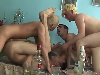 Drunk twinks group sex