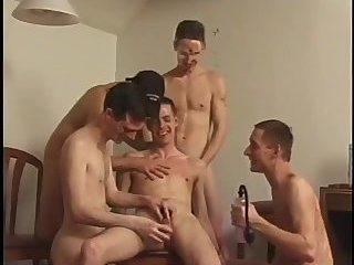 Gay cock pumped in group