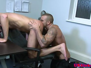 British muscled tattood poofs bum fuck on desk