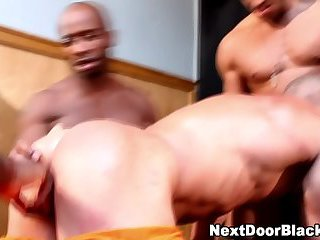 Muscly black dudes fuck gay asian