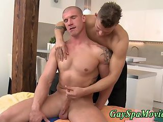 Masseur rides straightys cock