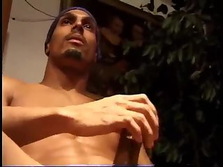 Ebony Guy Tugging On His Cock