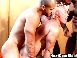 Muscly black dudes cum on asian
