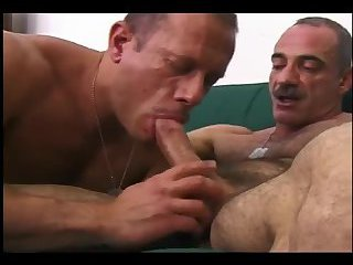 Two military mature dudes have sex
