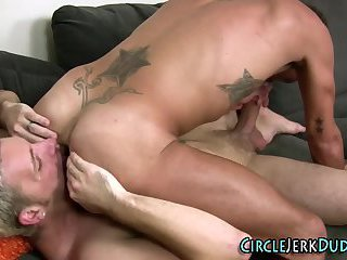 Tattooed twinks eat cock and ass