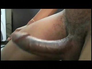 Ebony Gay Guy Jerking Big Cock