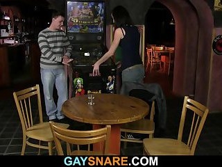 Chick watches gay barman drilling hetero's butt