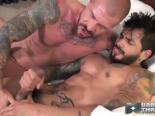 Yummy guys in tats ass penetration