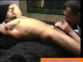 Real straight guy getting dicksucked by mature DILF