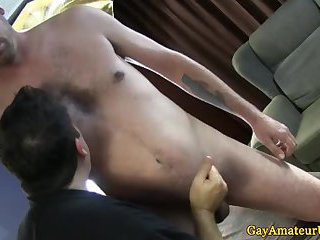 Straight amateur enjoys gay massage handjob