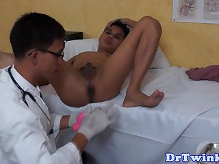 Naked twink asian doctor giving enema