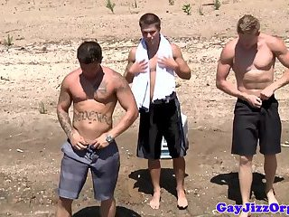 Muscled Gay Hunks Jizz All Over Dude