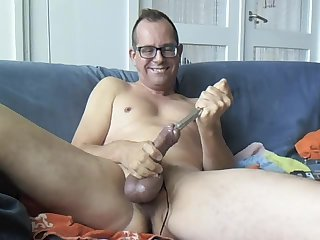 Horny amateur guy toying his dick