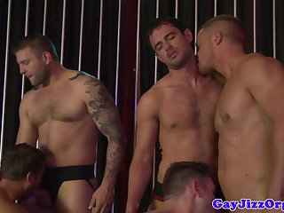 Orgy loving hunk squirted with jizz