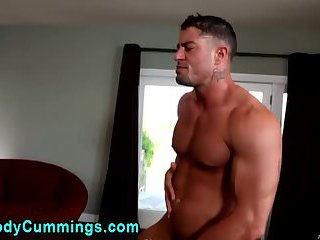 Gay toys clients ass while jerking off