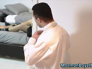 Mormon jerks his cock