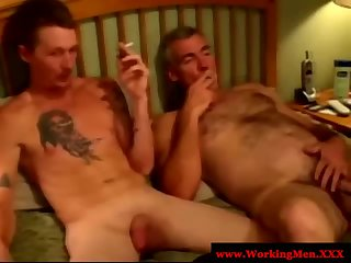 Gaysex mature bears smoke after anal