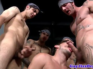 Tattooed muscled studs mouth fuck dude then drill his ass
