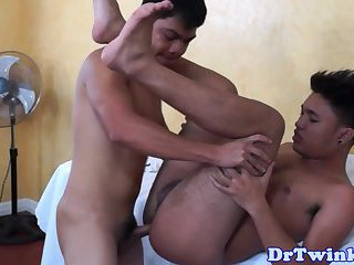 Asian twink doctor in bareback drill action